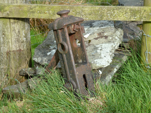 Old fence straining post