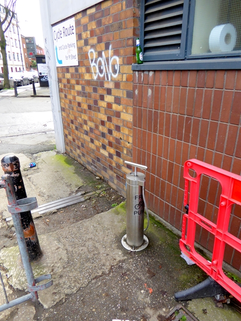 Public bicycle pump