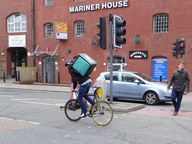 Deliveroo rider on Narrow Quay