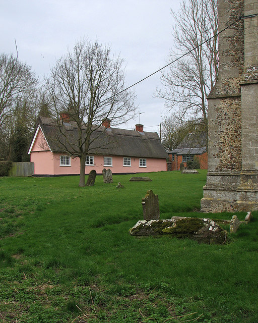 Wickhambrook churchyard and almshouses