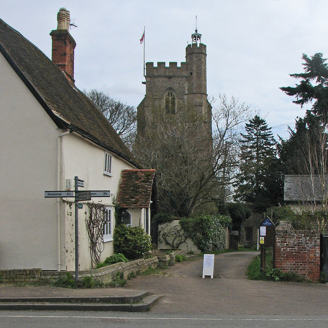 Hundon: signpost and church tower