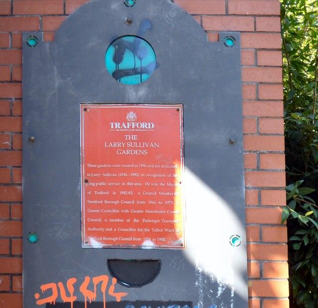 Larry Sullivan Gardens: Plaque