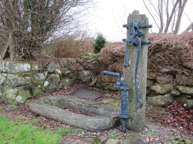 Water pump and stone trough opposite Gell Farm