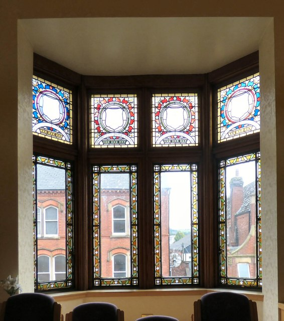 Windows in Hyde Town Hall.