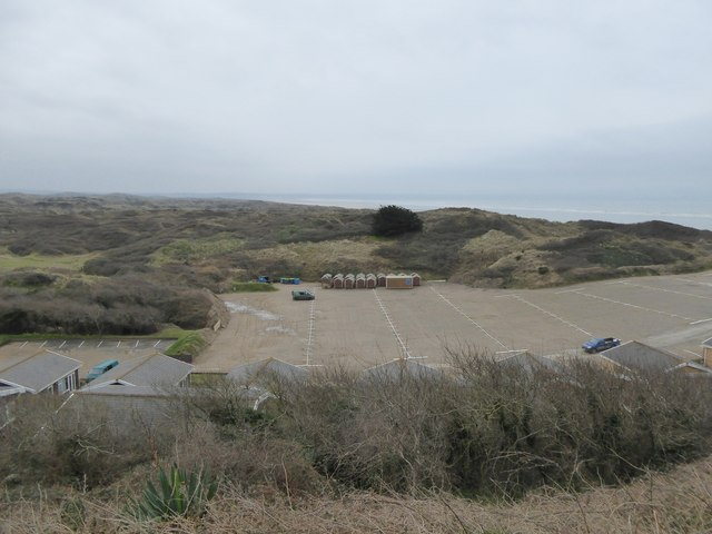 Car park at Saunton and sand dunes
