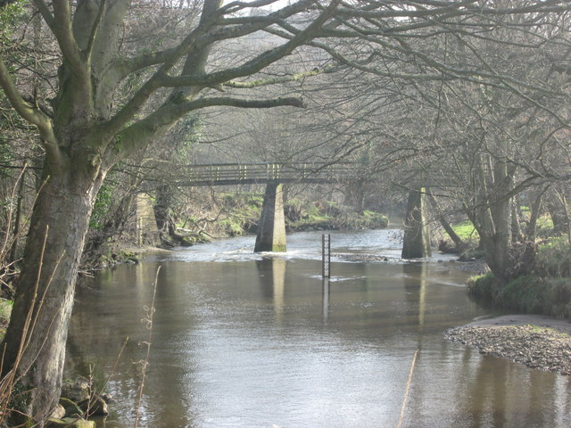 Footbridge over the River Esk near Grosmont
