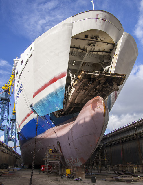 'Stena Superfast VII' in dry dock, Belfast