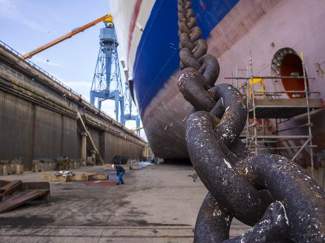 'Stena Superfast VII' in dry dock, Belfast