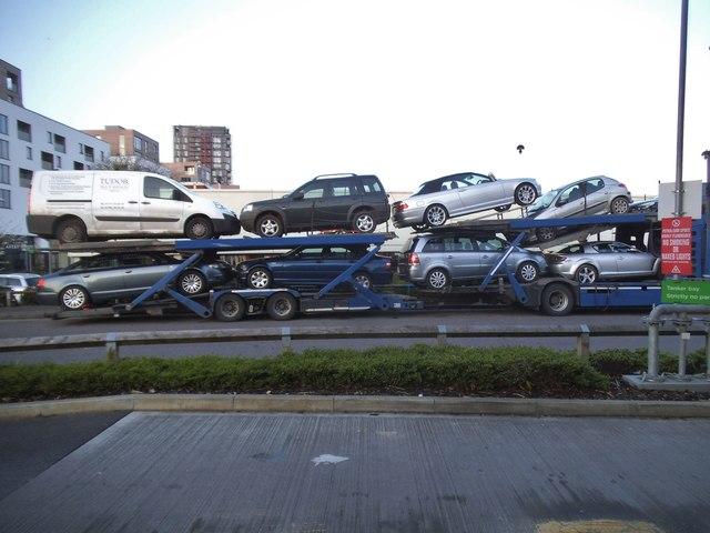 Car transporter outside Asda, Colindale