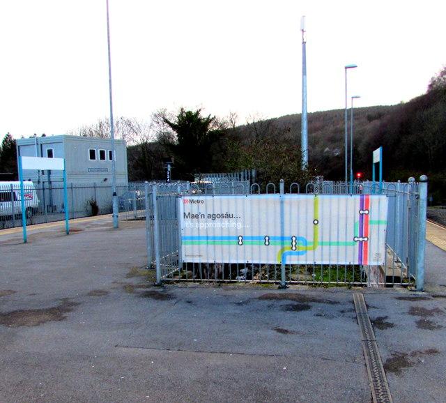 In Abercynon Rhondda Cynon Taf: Metro Banner On Abercynon Railway... © Jaggery :: Geograph