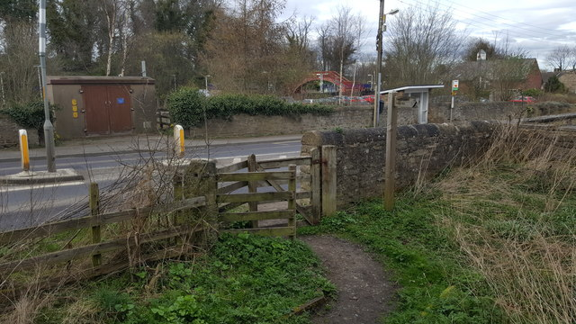 Kissing Gate on footpath where it meets A695 near Stocksfield Station