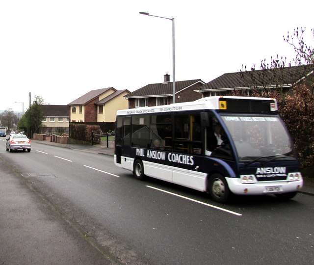 Phil Anslow Coaches bus, Upper Cwmbran Road, Upper Cwmbran
