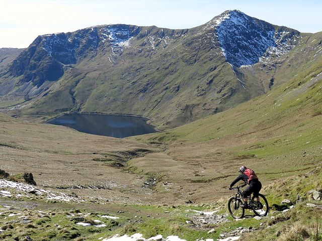 Mountain Bike below Nan Bield Pass