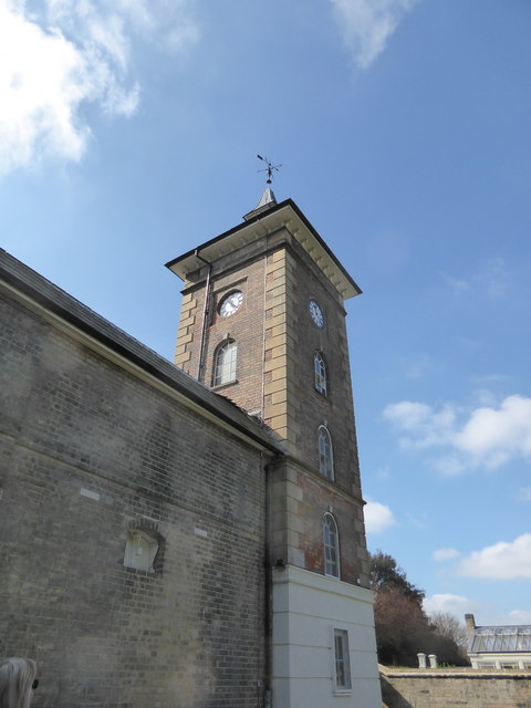The clock tower of the Stable Block, Holywells Park