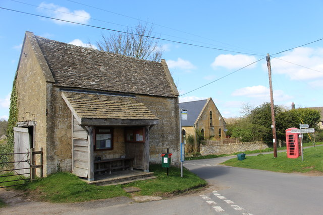 Bus shelter and telephone box in Brockhampton
