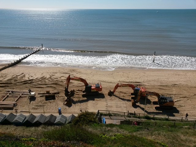 Southbourne: looking down on some beach works