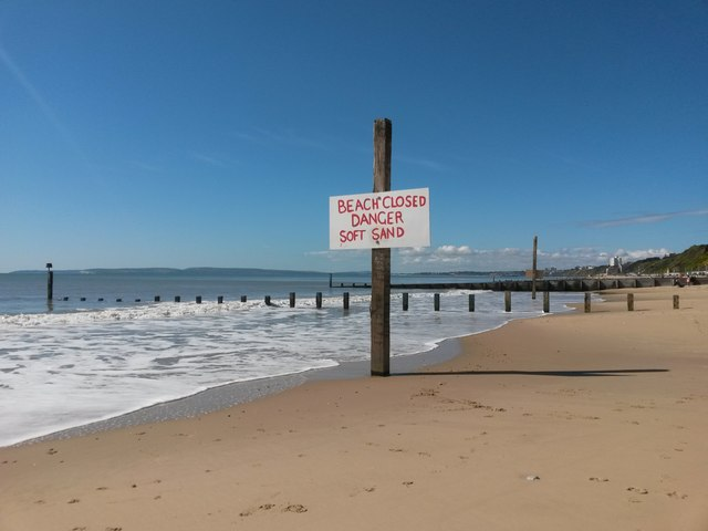Southbourne: the beach is closed because the sand is soft!