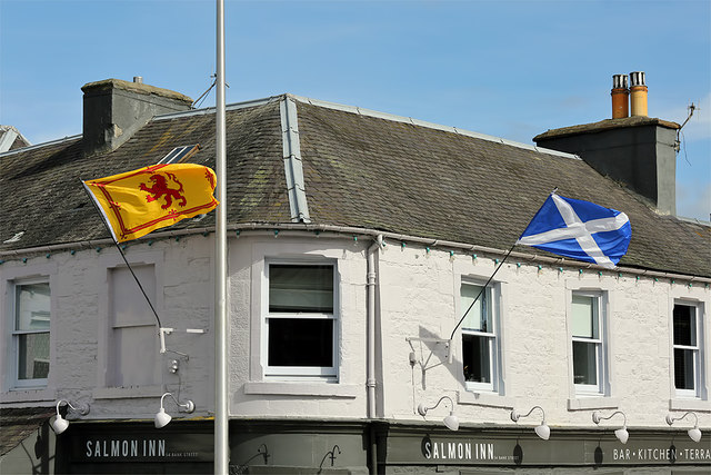 Flags outside the Salmon Inn, Galashiels