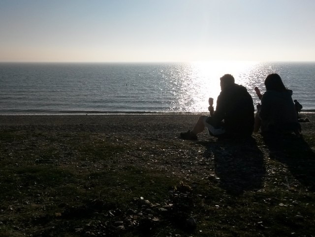 Lee-on-the-Solent: a couple enjoy large ice creams