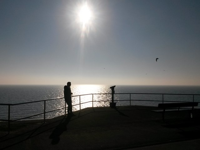 Lee-on-the-Solent: a man looks out to sea