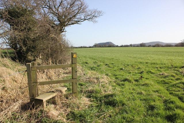 Stile and footpath on Tiverton Farm