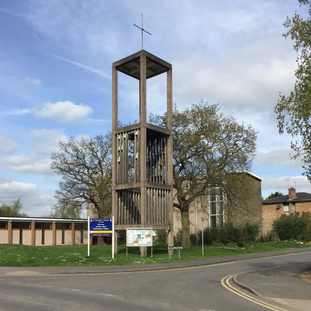 Bell tower of St Oswald's Church, Jardine Crescent, Tile Hill, west Coventry