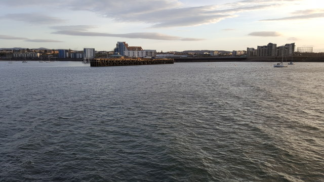 Granton Harbour and Middle Pier from the tip of the Eastern Breakwater