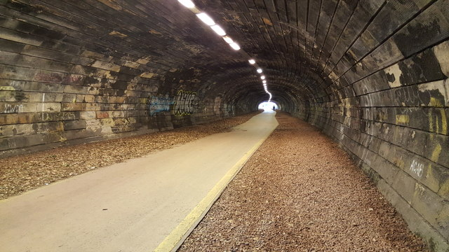 Cycle path (NCN Route 75) inside the Rodney Street or Heriot Hill Tunnel