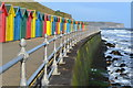 NZ8811 : Beach huts on promenade below West Cliff : Week 16