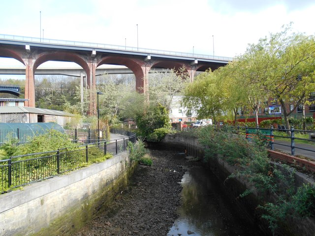 View of Byker Bridge from the Ouse Burn