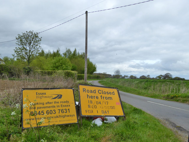 Road closure warning signs