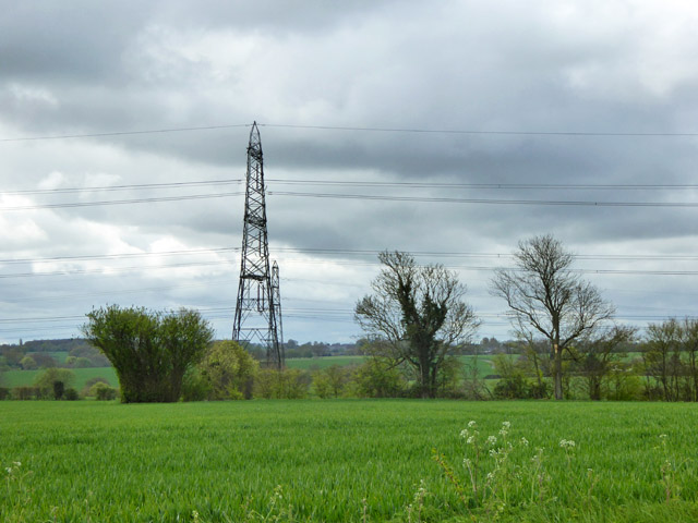 Farmland with power lines