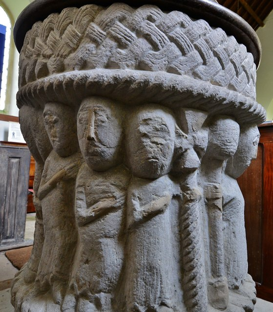 Toller Fratrum: St. Basil's Church: Norman font; Christ or St. Michael leading souls from Hell 2