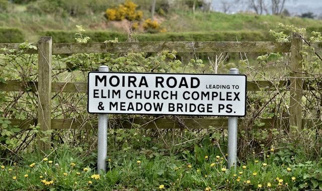 Moira Road name sign, Hillsborough (April 2017)