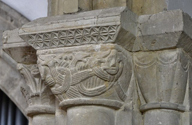 Hawkchurch: St. John the Baptist's Church: Norman capital on the chancel arch 1