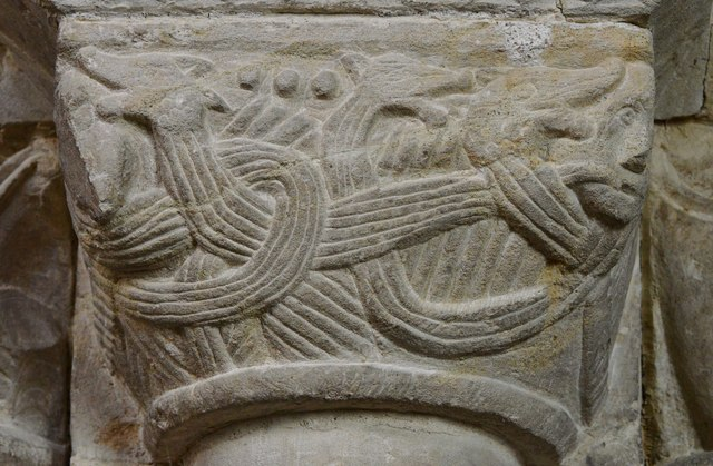 Hawkchurch: St. John the Baptist's Church: Norman capital on the chancel arch 3
