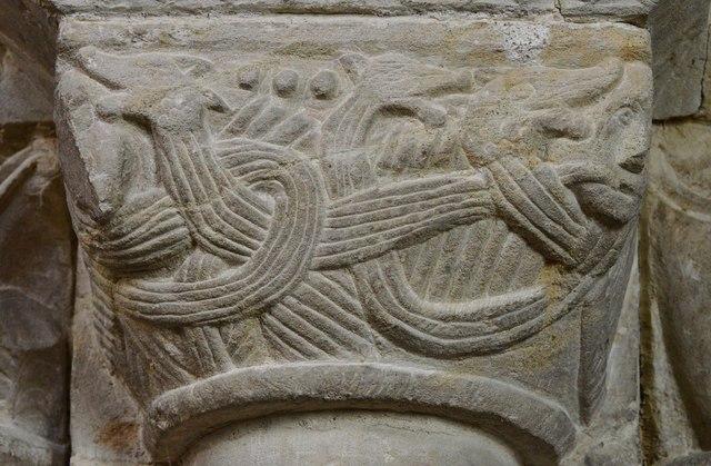 Hawkchurch: St. John the Baptist's Church: Norman capital on the chancel arch 3