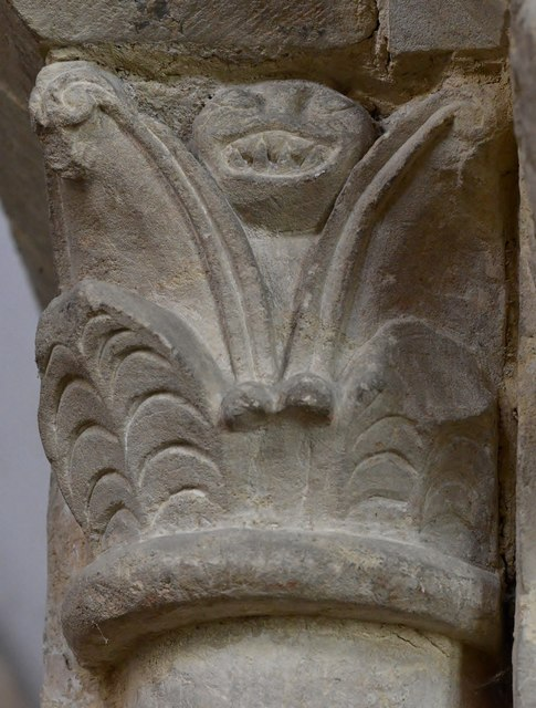 Hawkchurch: St. John the Baptist's Church: Norman capital on the chancel arch 5