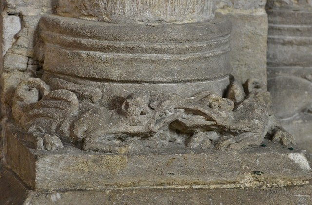 Hawkchurch: St. John the Baptist's Church: Column base carving, two creatures fighting 2