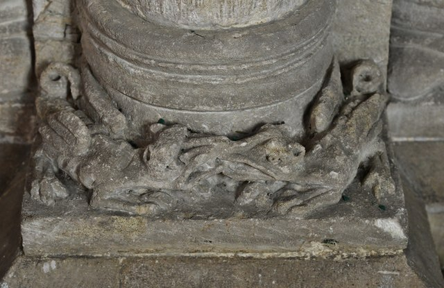 Hawkchurch: St. John the Baptist's Church: Column base carving, two creatures fighting 3