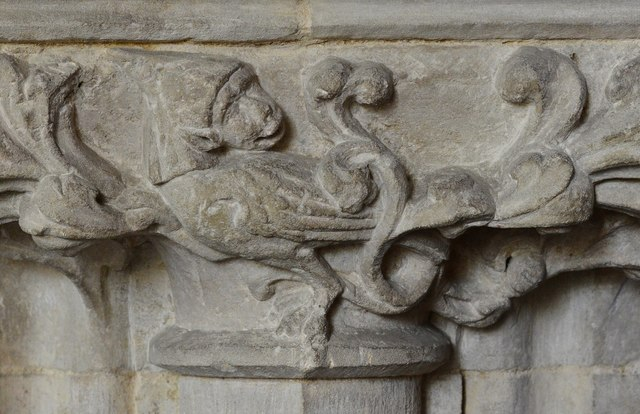 Hawkchurch: St. John the Baptist's Church: Nave capital, possibly a monkey in a bishop's mitre 2