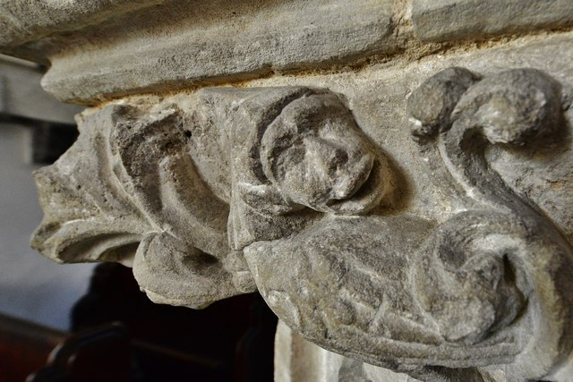 Hawkchurch: St. John the Baptist's Church: Nave capital, possibly a monkey in a bishop's mitre 3