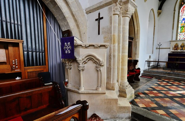 Hawkchurch: St. John the Baptist's Church: The Henry Burge stone pulpit of 1861