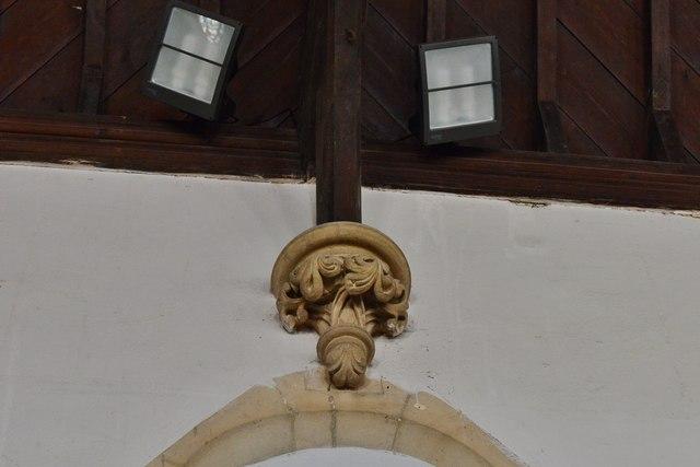 Hawkchurch: St. John the Baptist's Church: Roof corbel