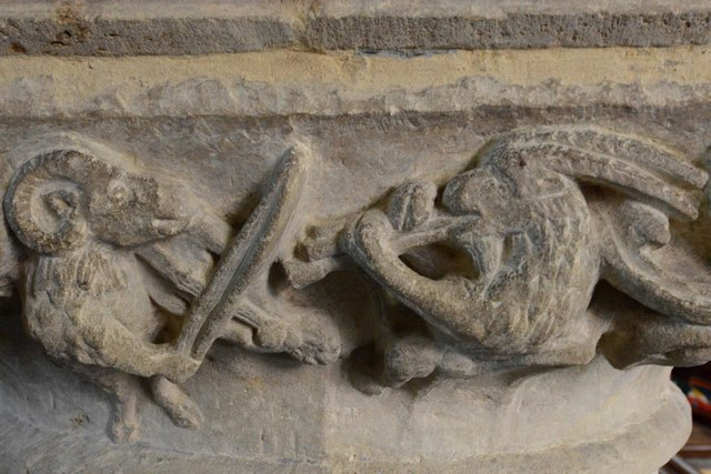Hawkchurch: St. John the Baptist's Church: Nave capital, viol-playing ram and shawm-playing goat