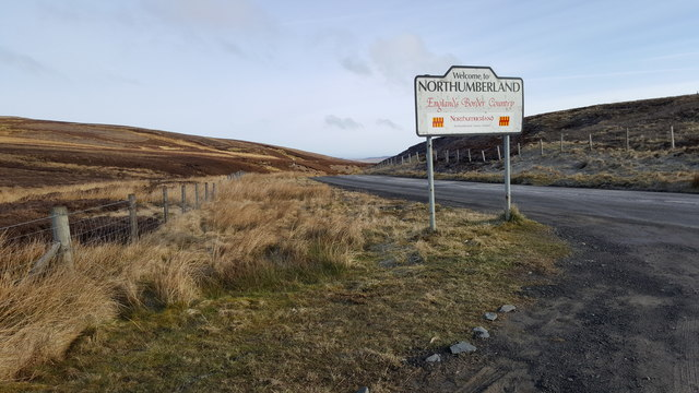 Northumberland County boundary on B6295 between Allendale and Weardale