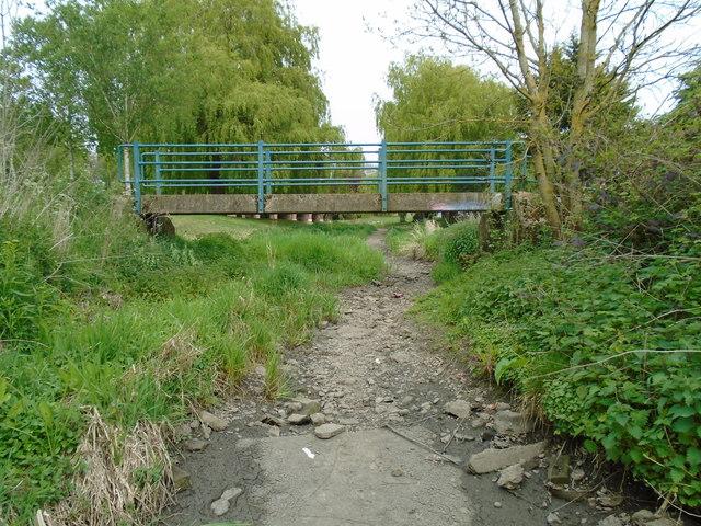 River in drought 6 - footbridge over river