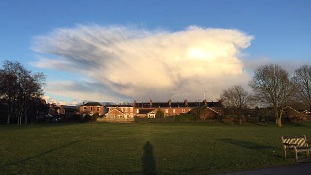 North corner of St Nicholas Park, Warwick, with a view of a receding shower cloud