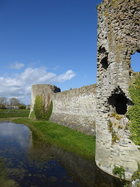 Pevensey Castle - Moat and western façade