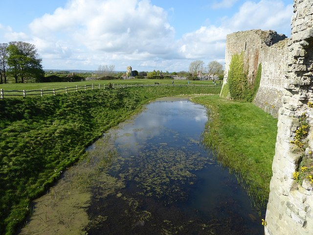 Pevensey Castle - The moat from the bridge